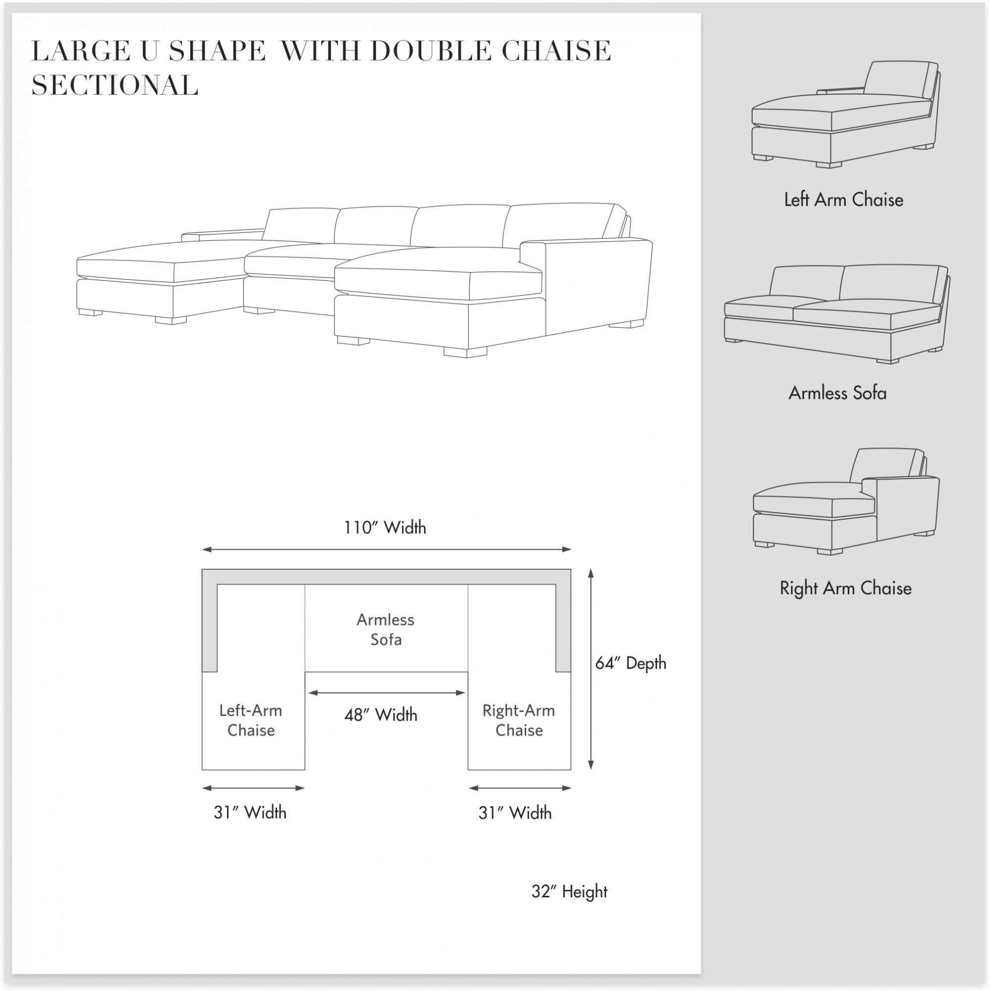 Large U Shape Sectional  with  Double Chaise- Manor