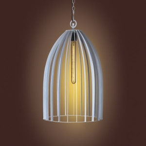 Metal Cage Pendant Lamp- Ivory
