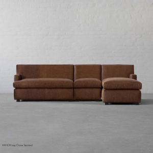 Manor Leather - Large Chaise Sectional