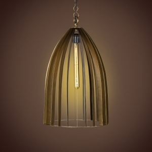Metal Cage Pendant Lamp- Antique Brass