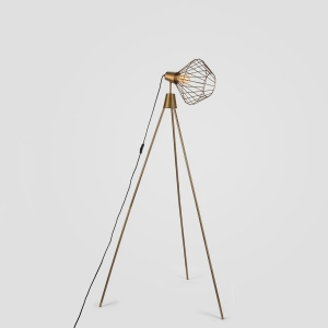 Mill Tripod Floor Lamp in Antique Brass Finish