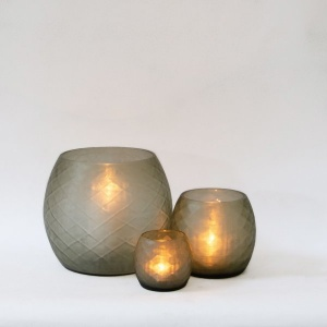 Mosaic Glass Candle Holder - Basil