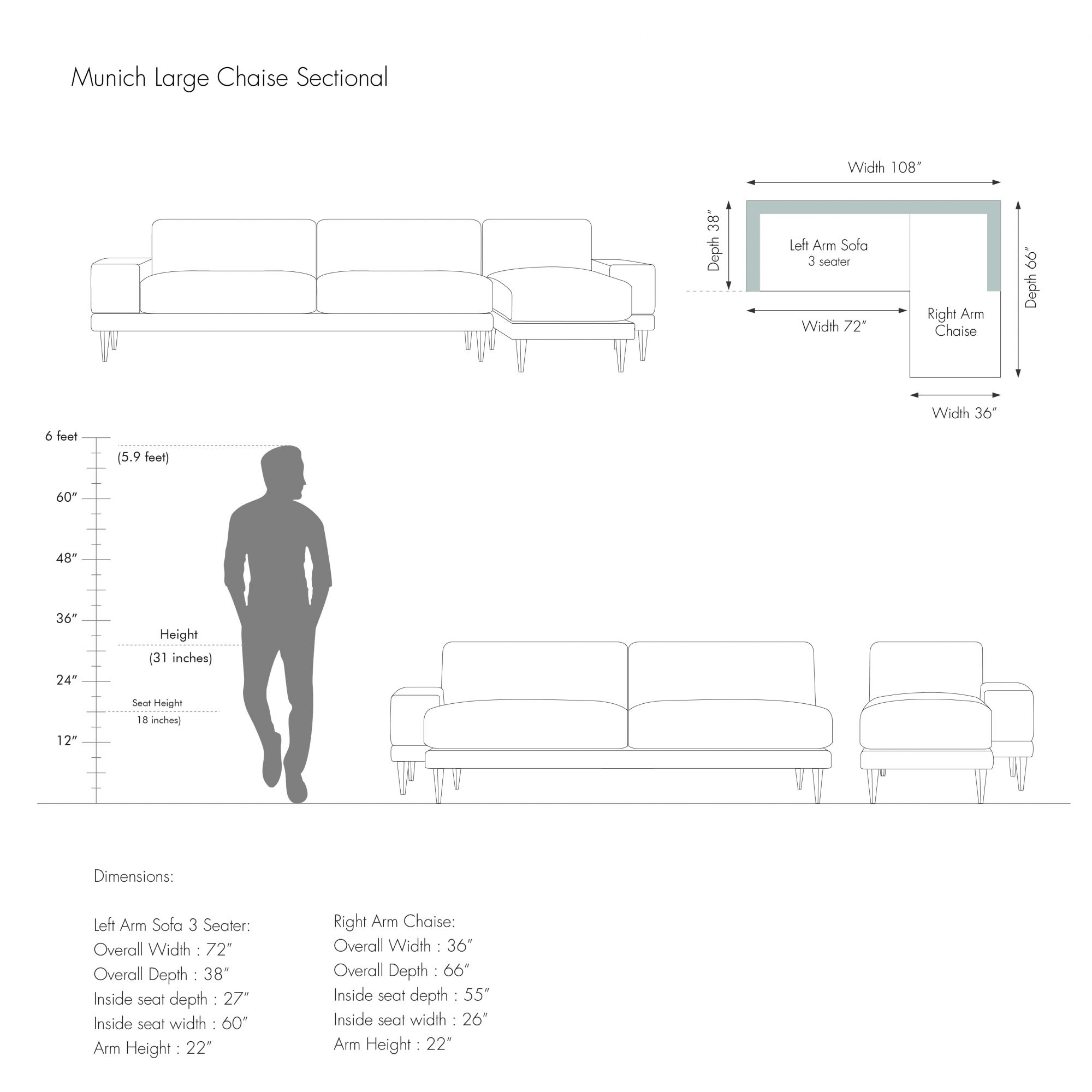 Large Chaise Sectional - Munich