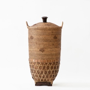 Buana Handwoven Basket With Lid and Side Swing Handles