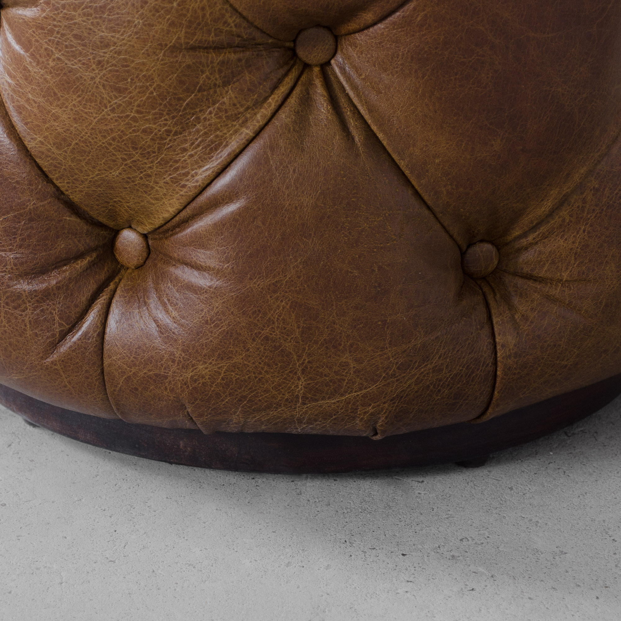 Birmingham Tufted Leather Pouffe