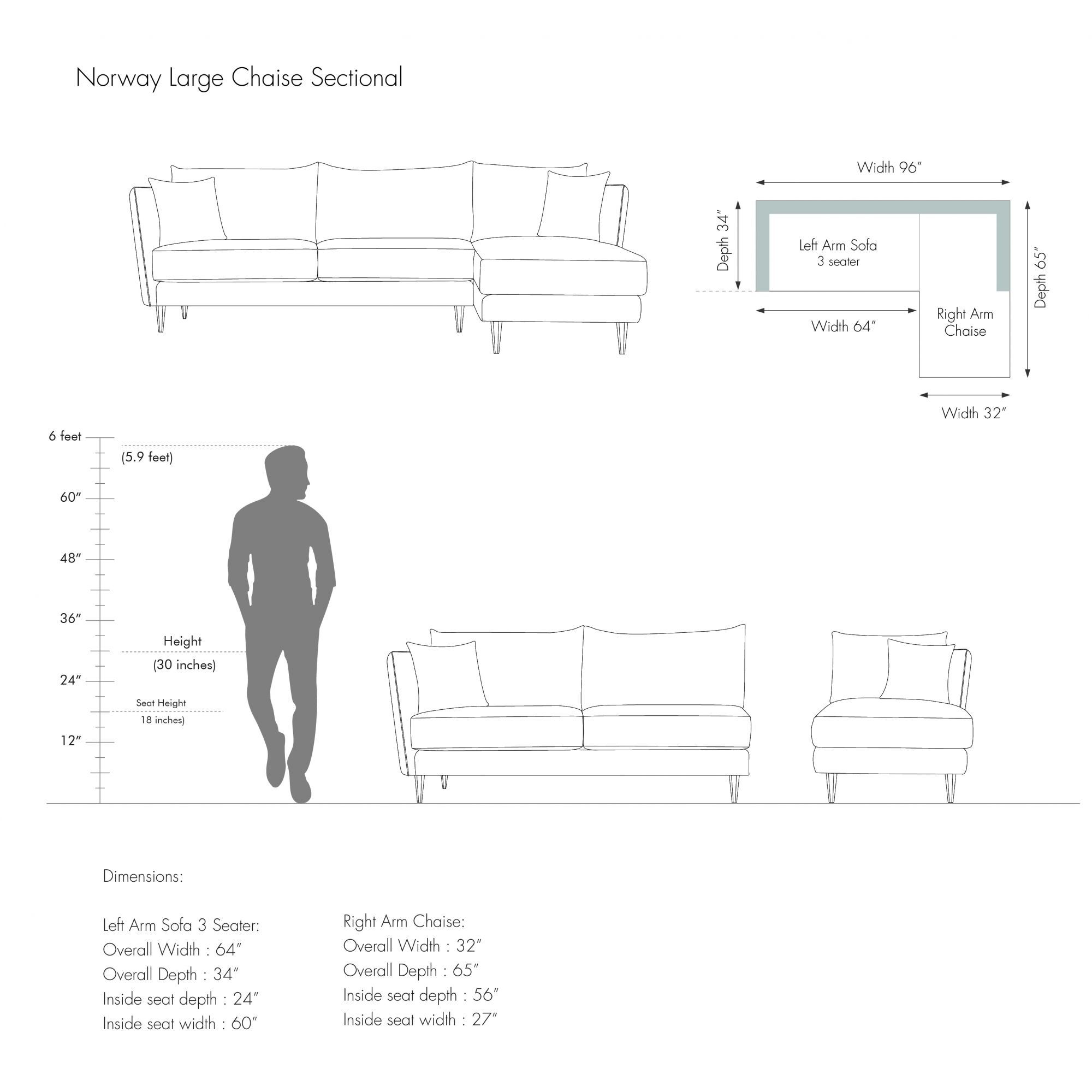 Norway Large Chaise Sectional
