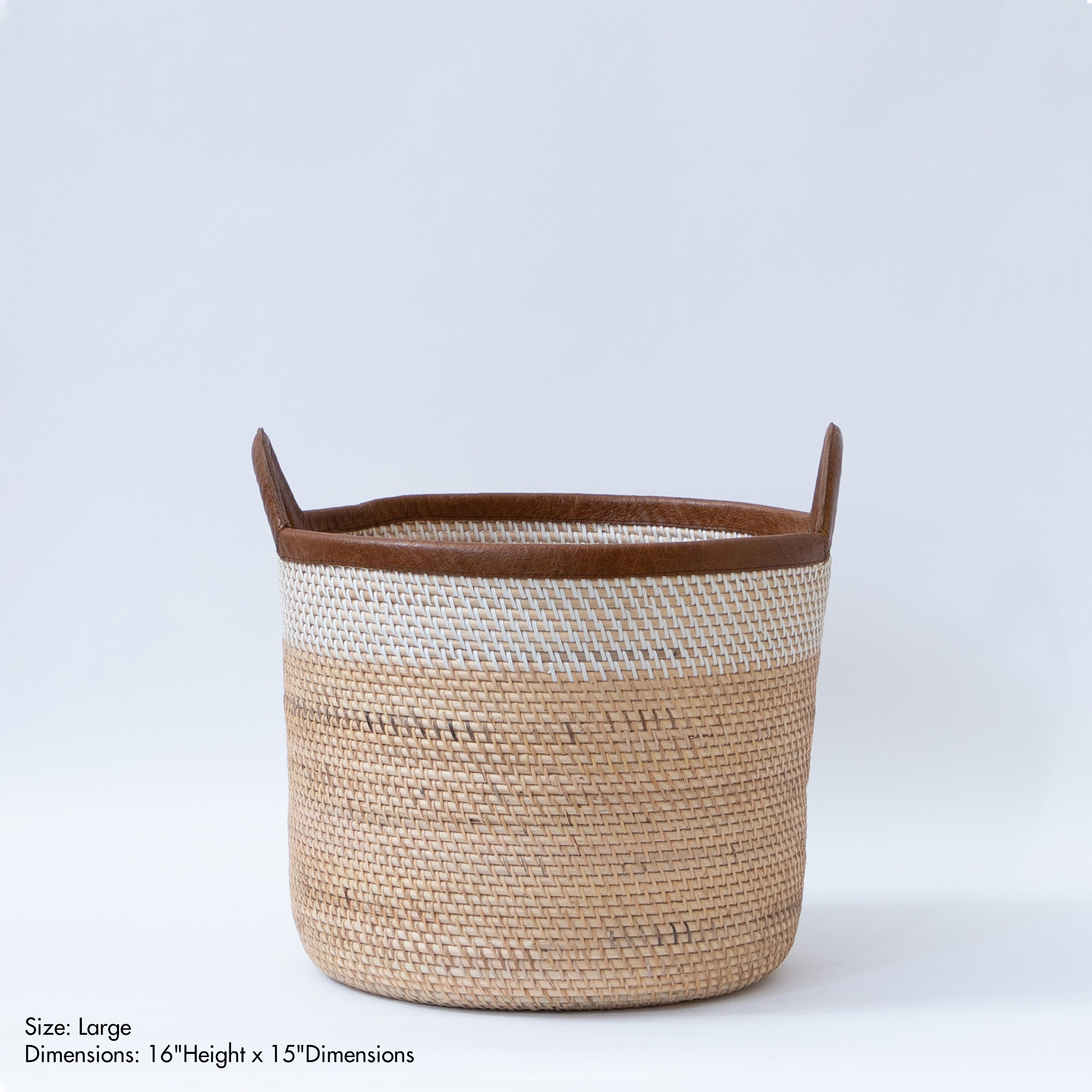 Palm Leaf Rattan Basket - Natural & Ivory