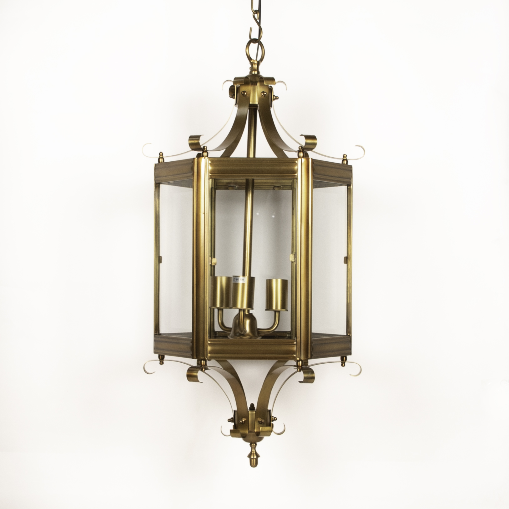 Prague Metal and Glass Chandelier Brass Finish