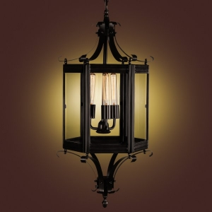 Prague Metal and Glass Chandelier Bronze Finish