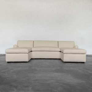 Large U Shape Sectional  with  Double Chaise- Roll Arms