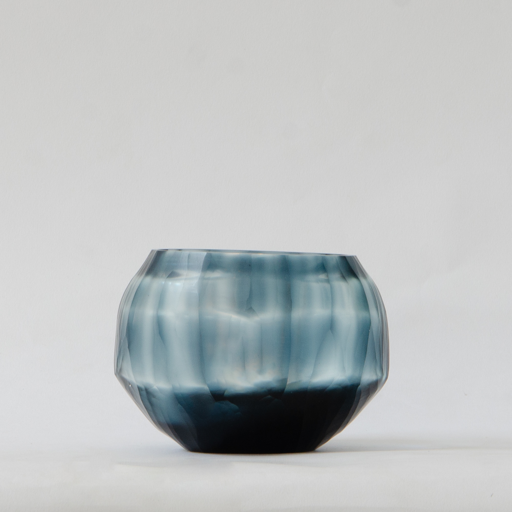Shibori Glass Candle Holder - Teal