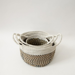 The Sayan House Hand-woven Basket - Natural & Charcoal