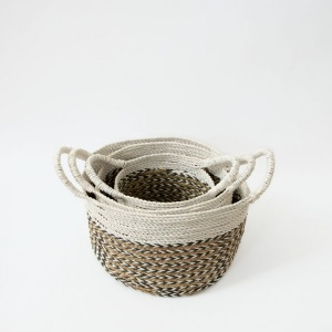 The Sayan House Handwoven Basket - Natural & Charcoal