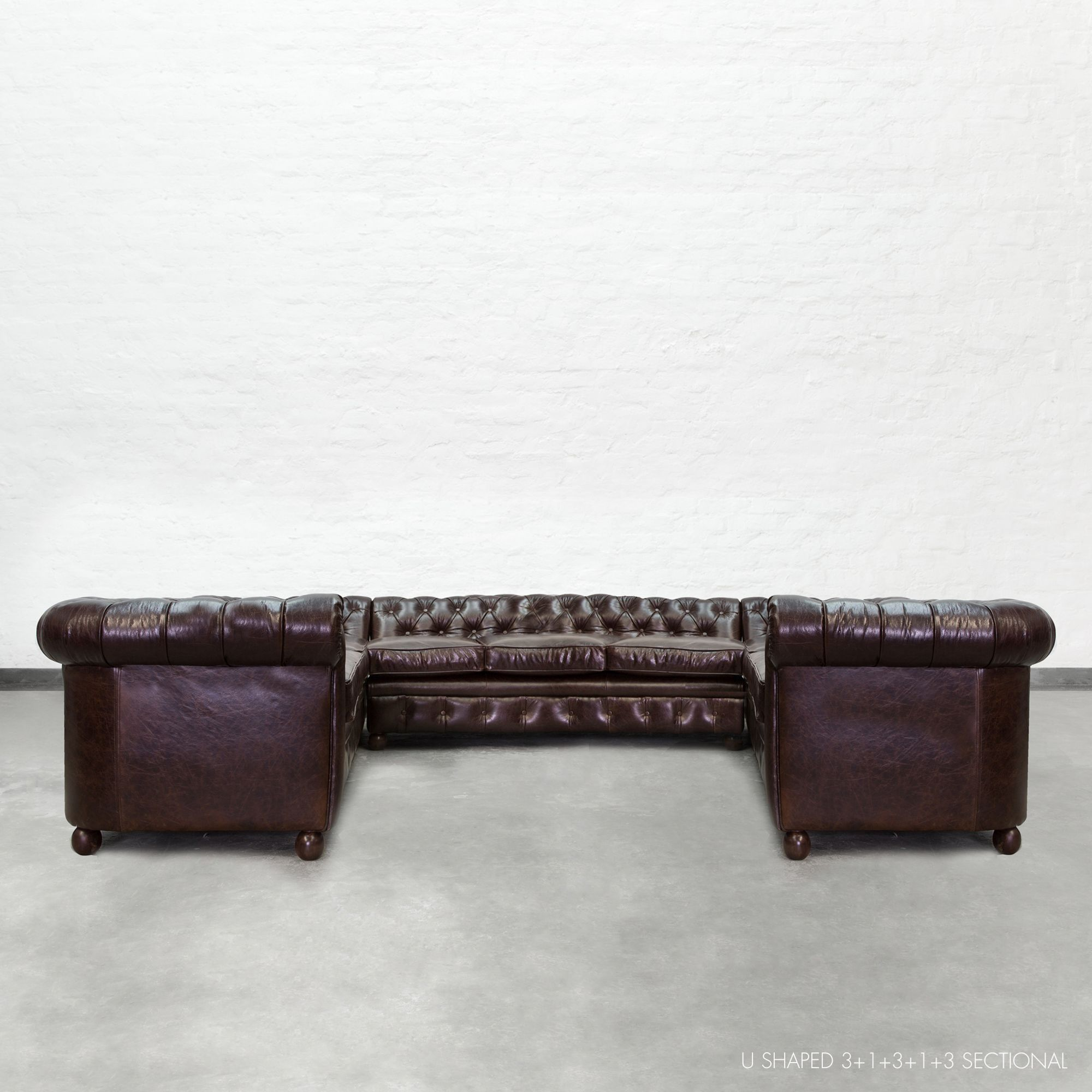 U Shaped Chesterfield Sectional Large 3+1+3+1+3