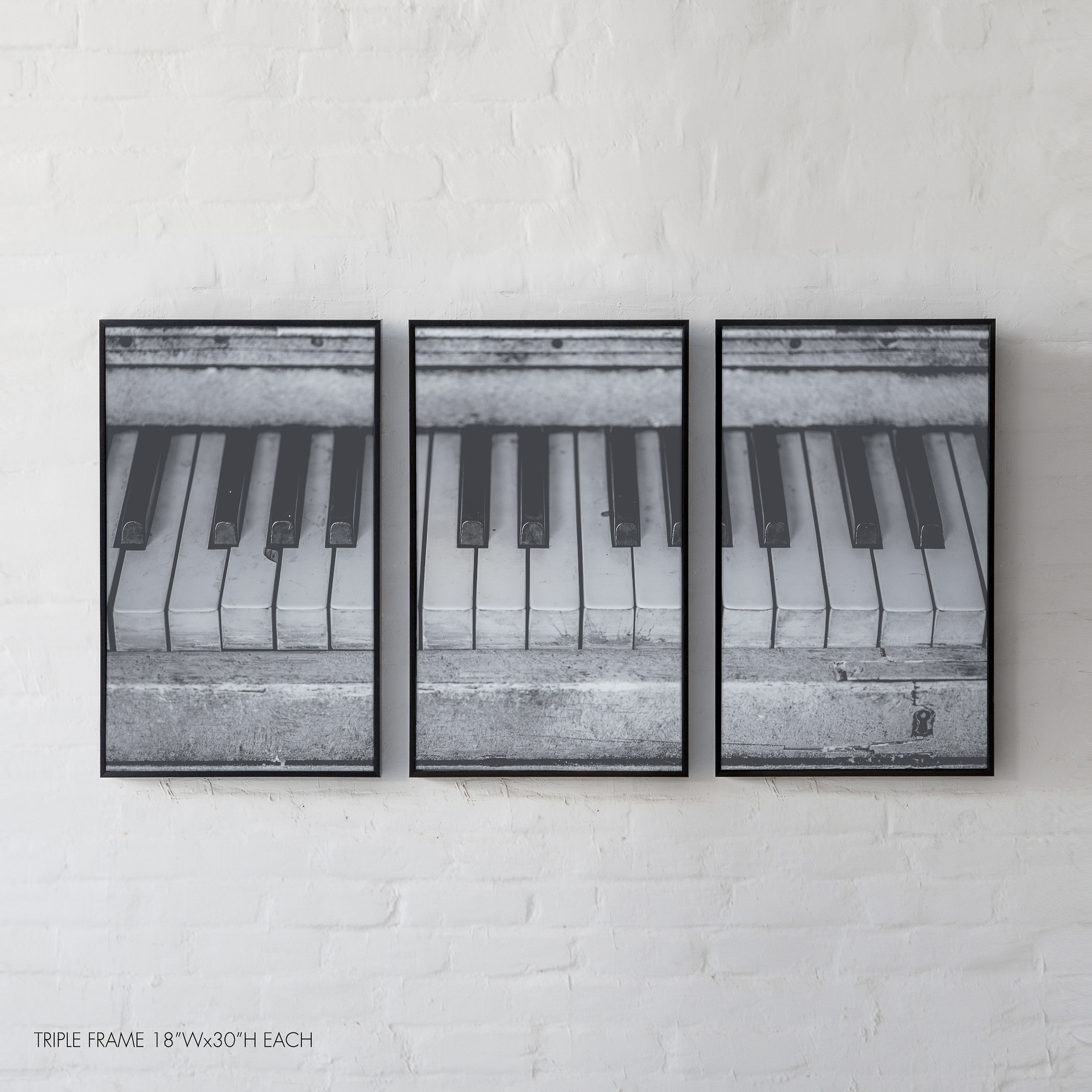 Antique Piano Keys, An achromatic close-up