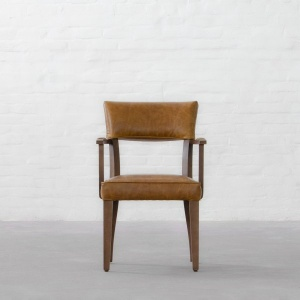 Prague Leather Dining Chair - With Arms