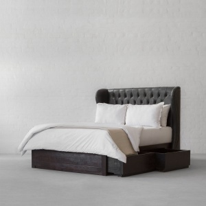 Wingback Tufted Leather Bed Collection