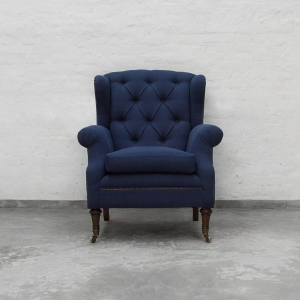 Wing Back Tufted Armchair Loose Seat